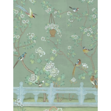 Chinoiserie Casa Cosima Green Indra Diptych Mural - Sample For Sale - Image 3 of 3