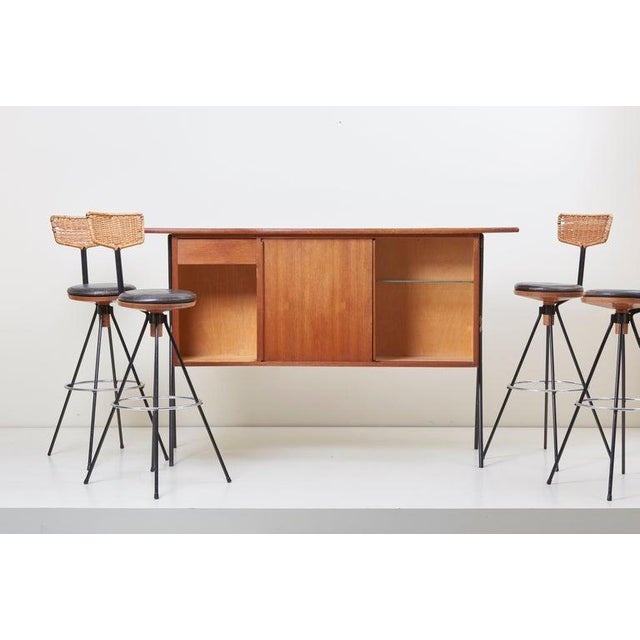 Brown House Bar and Four Bar Stools by Prof. Herta-Maria Witzemann for Erwin Behr For Sale - Image 8 of 13