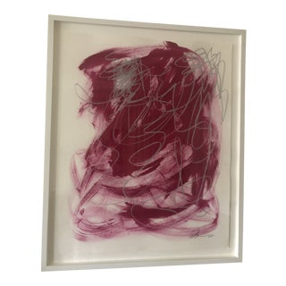 Contemporary Abstract Gouache Painting, Framed For Sale