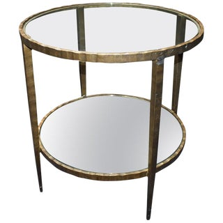 1960s Mid-Century Modern Hammered Iron Two Tiers Round Side Table For Sale