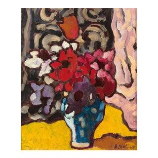 Fleurs en Vase Bleu (Flowers in a Blue Vase)