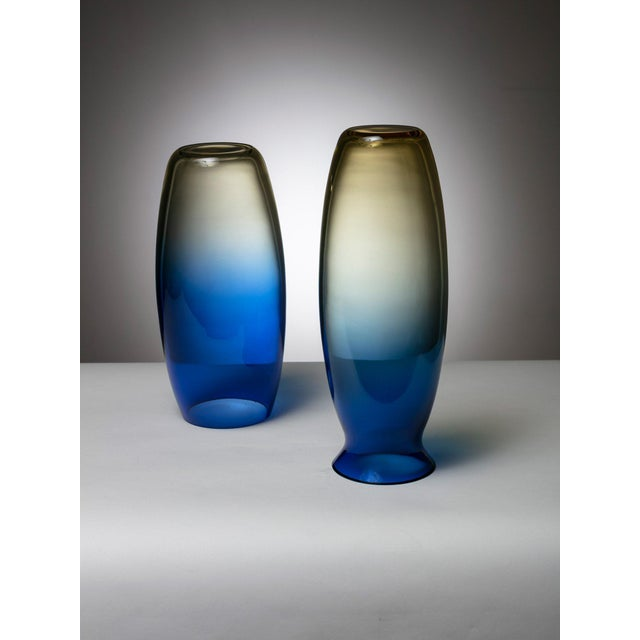Set of two vases by Barbini. Light yellow and blue colors melting into each other. Size refers to the tallest piece.