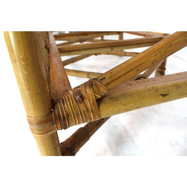 Animal Skin Heavy Gage Thick Bamboo and Leather X-Base Sofa Frame For Sale - Image 7 of 12
