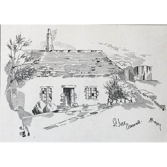 "Cottage Antique English Pen & Ink Cottage Drawing ""St Ives Cornwall"" 1907 For Sale - Image 3 of 6"