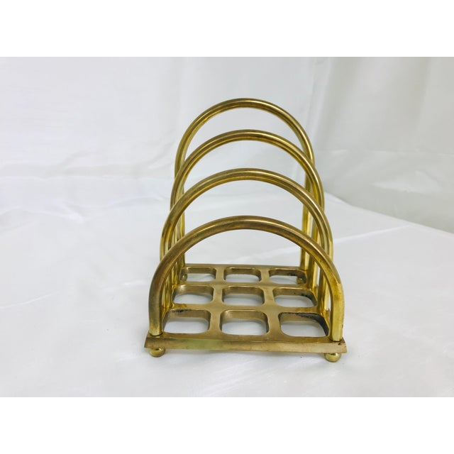 Gold 1960s Art Deco Brass File/Letter Holder Desk Accessory For Sale - Image 8 of 8