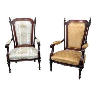 Louis XVI Style Companion Armchairs - a Pair For Sale