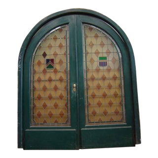 Arched Leaded & Stained Glass Doors - a Pair