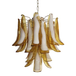 Vintage 1980's Italian Amber Murano Glass Chandelier For Sale