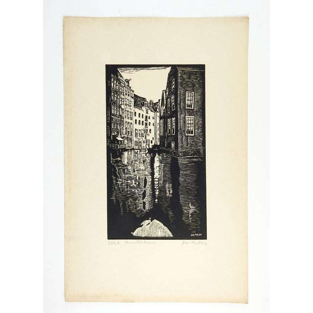 Old Amsterdam woodblock print on paper by John DePree (20th Century). Signed and titled in pencil bottom edge of mat....