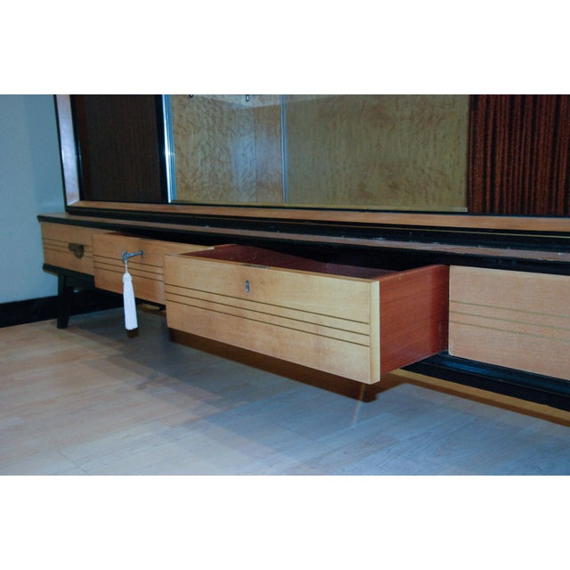 Metal Circa 1950 Large German Exotic Wood and Glass Bar/Display Cabinet, Germany For Sale - Image 7 of 8