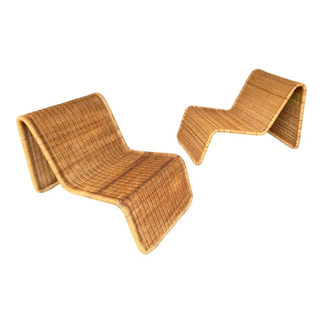 Pair of Rattan Lounge Chair P3 by Tito Agnoli. Italy, 1960s For Sale
