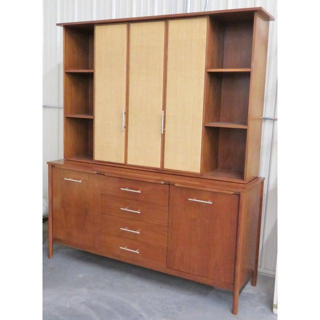 John Stuart Modern Teak & Burlap Breakfront Cabinet - Image 3 of 9