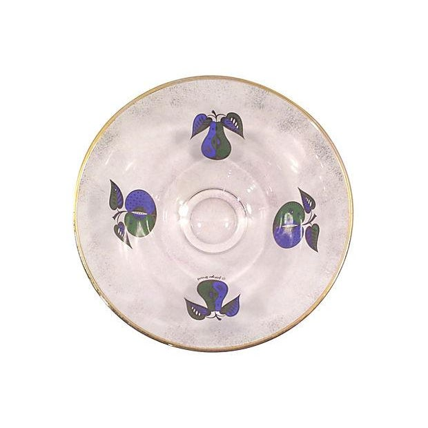 Georges Briard Fruit Motif Glass Bowl - Image 4 of 5
