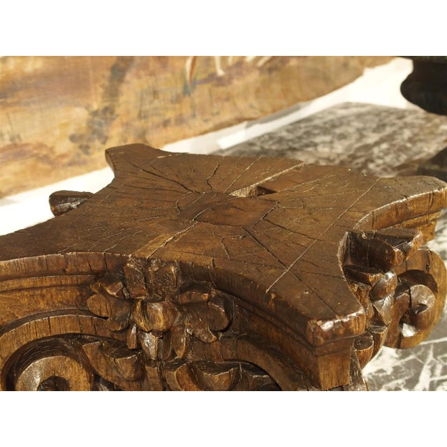 French Small 18th Century French Oak Column Capital For Sale - Image 3 of 8