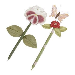 Fabulous Spring Flower Pens - a Pair