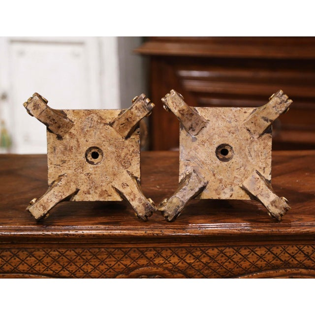 Pair of 19th Century Italian Carved Silver and Gilt Candle Holders For Sale - Image 10 of 12