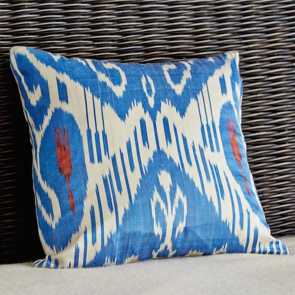 Blue Ikat Pillow Covers - A Pair - Image 4 of 4