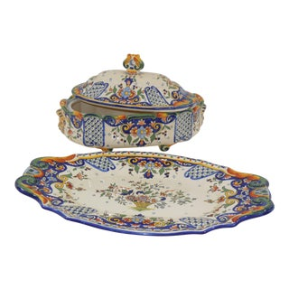 Rouen Covered Faience Center Bowl & Tray - a Set For Sale