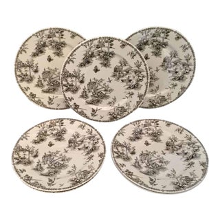 1960s Chelsea Toile in Black Queens Fine Bone China Plates - Set of 7 For Sale