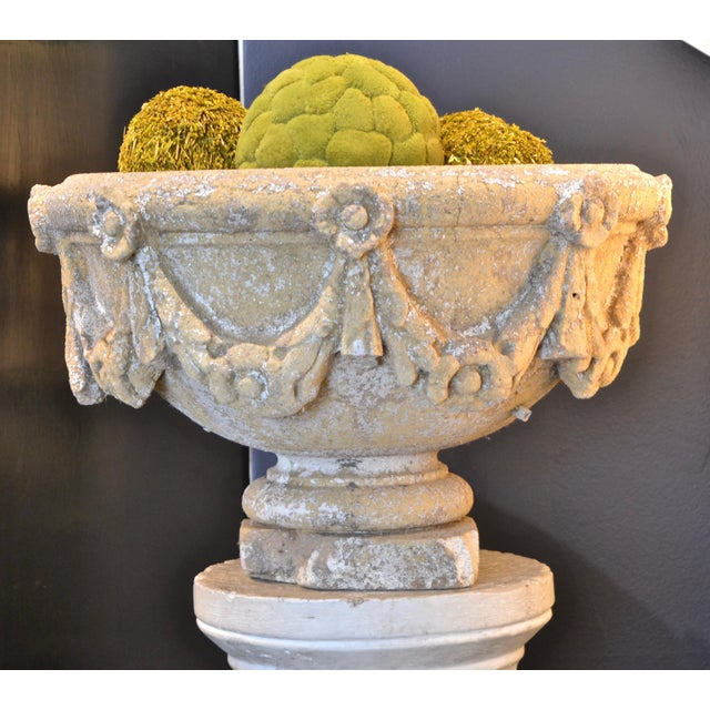 1920s Swag Decorated Garden Urn For Sale - Image 5 of 5