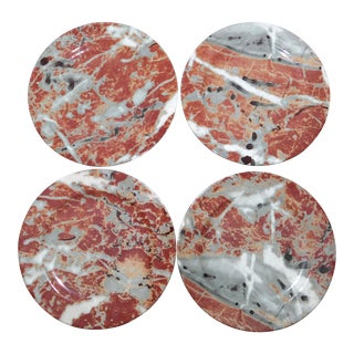 Late 20th Century Apilco France Faux Marble Plates - Set of 4 For Sale