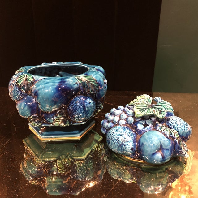 Make a statement with this gorgeous indigo green fruit basket cookie jar!