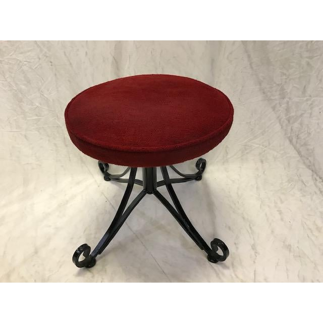 1960s Vintage Wrought Iron Swivel Stool For Sale - Image 4 of 8