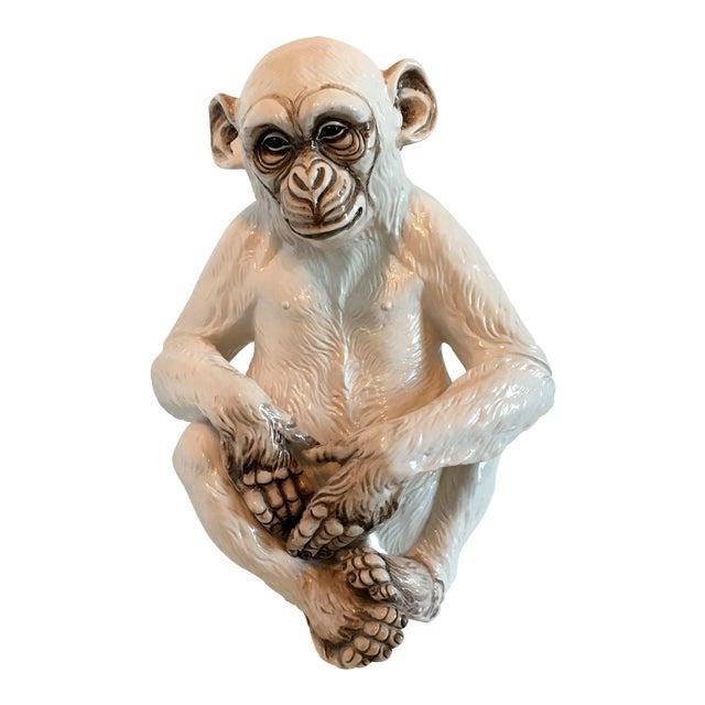 Italian Ceramic Monkey Statue For Sale
