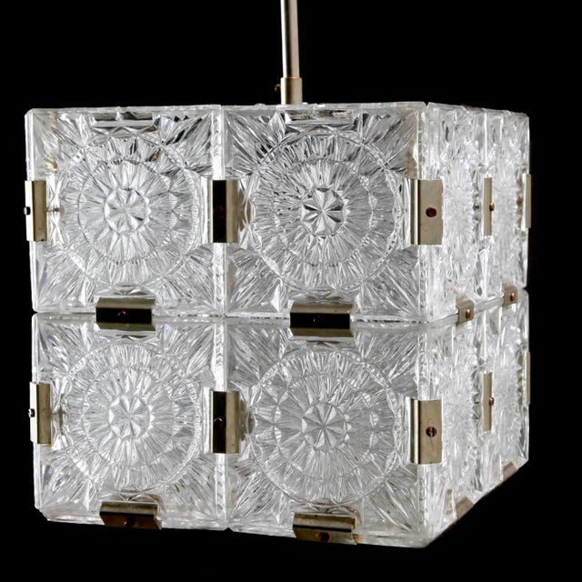 1970s Mid Century Glass Cube Pendant Light in the Style of Kalmar For Sale - Image 5 of 7