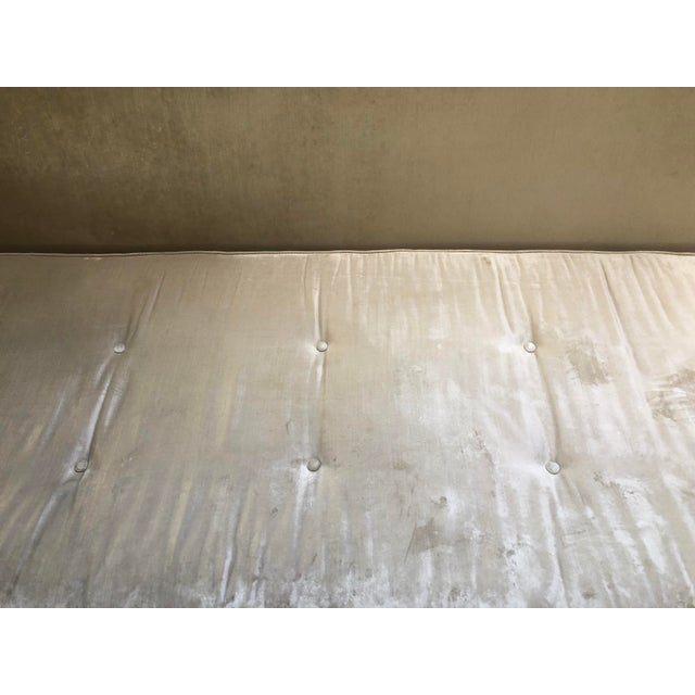 Metal Cream Velvet Sofa Bed For Sale - Image 7 of 11