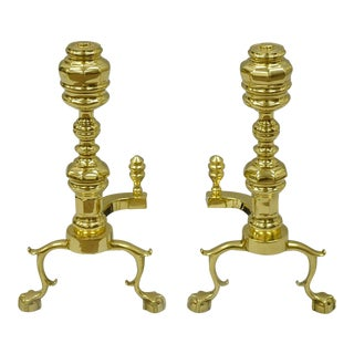 Williamsburg Style Branch Foot Ball & Claw Andirons - A Pair