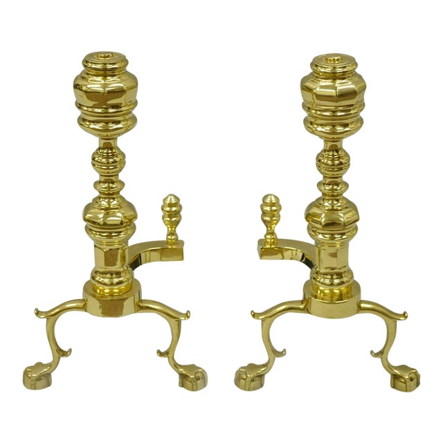 Williamsburg Style Branch Foot Ball & Claw Andirons - A Pair For Sale