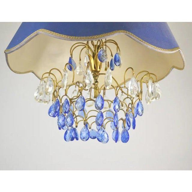 1970s Blue Shade Crystal Pendant For Sale - Image 5 of 9