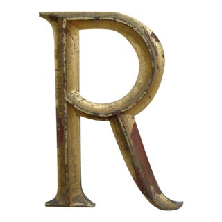"19th C. Gilded Cast Iron Letter ""R"" For Sale"