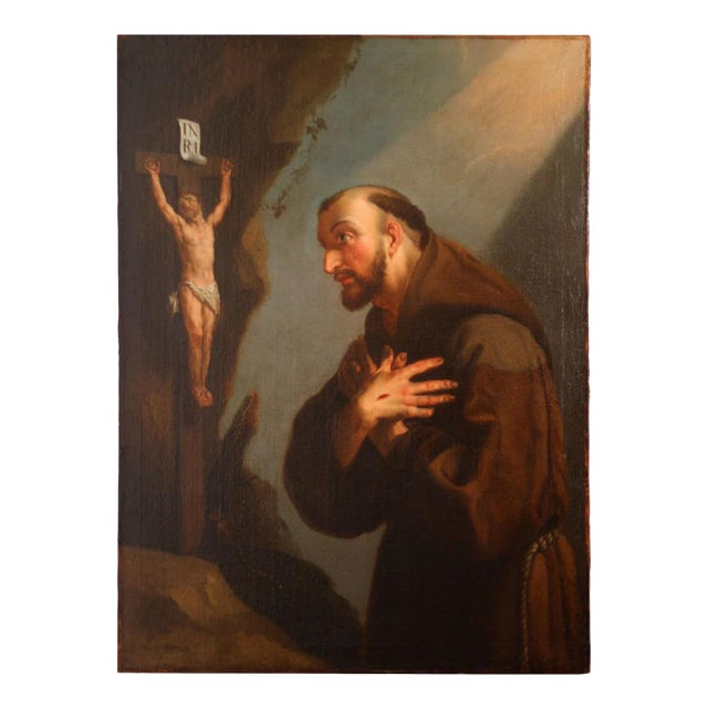 18th Century Framed Oil Painting of St. Francis For Sale