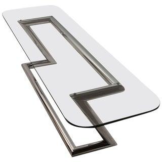 Tubular Chrome Base Plate Glass Top Cocktail Table For Sale