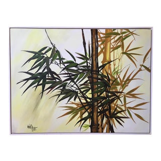 Vintage Old Florida Bamboo Painting For Sale