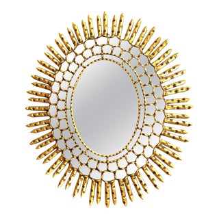 Mid-Century Modern Oval Sunburst Mirror in Giltwood For Sale