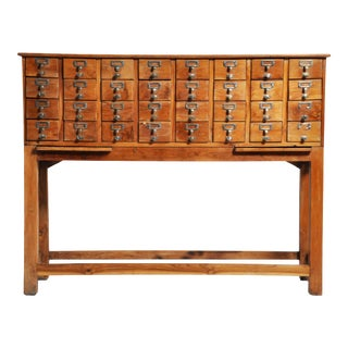 British Colonial Teak Wood 32 Drawer Filing Cabinet For Sale