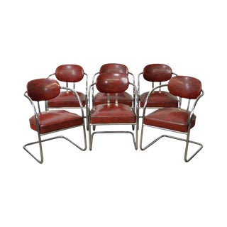 Art Deco Set of 6 Chrome & Red Vinyl Dining Chairs For Sale