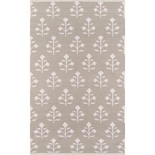 "Erin Gates Thompson Grove Grey Hand Woven Wool Area Rug 7'6"" X 9'6"" For Sale"