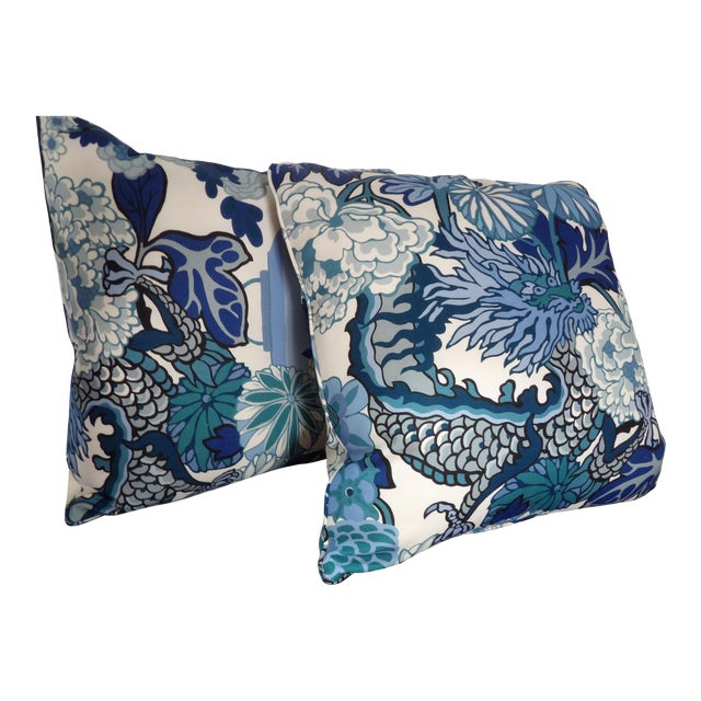 Blues & White Custom Made Pillows With Dragon Design - A Pair For Sale