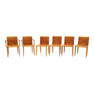 Vintage Giorgetti Dining Chairs in Cognac Leather - Set of 6 For Sale