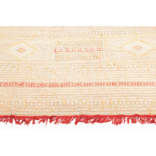 1960s Intricate Soumak Area Rug in Soft Neutral Tones; Beige, Green and Red For Sale - Image 5 of 9