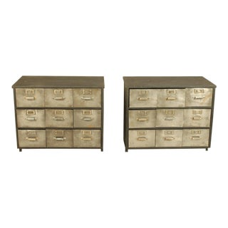 Industrial Metal and Wood Nine Drawer Filing Cabinets - a Pair For Sale
