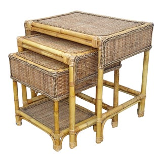 Set of Three Vintage French Country Bamboo Rattan Nesting Tables Tiki Palm Beach For Sale