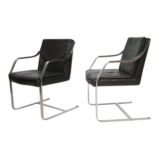 Set of Six Steel and Black Leather Armchairs by Maison Jansen For Sale