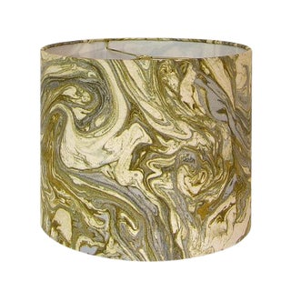 New, Made to Order, Gold and Silver Marbled Metallic Fabric, Medium Drum Lamp Shade