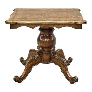 Antique English Burl Walnut End Side or Games Table