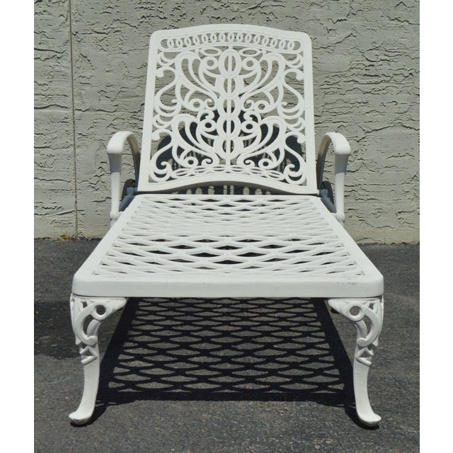 Quality Pair Cast Aluminum Patio Chaise Lounges For Sale - Image 10 of 13